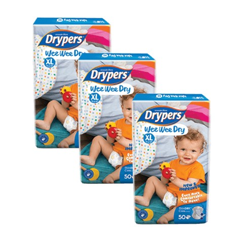 Drypers Wee Wee Dry Mega (XL50) (3 Packs) + Free Shipping (Pen. Malaysia only)