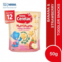 Nestle Cerelac Nutripuffs Toddler Snacks Banana & Strawberry (50g)