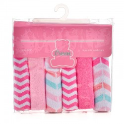 OWEN Baby Knit Washcloth, 6 Piece Set (PINK)