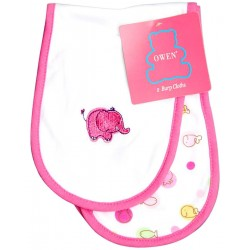 OWEN Baby Burp Cloth, 2 Piece Set - PINK