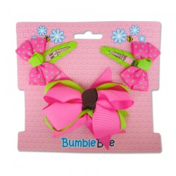 Bumble Bee Hair Clips Set (Shocking Pink) (XLA0036)