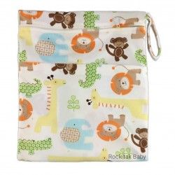 Rocktak Baby Wetbag with 2 Compartments (Minky) Simba & friends