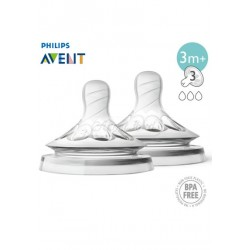 Philips Avent Natural Teat Medium Flow 3M+3H - (3 Hole) Twin Pack