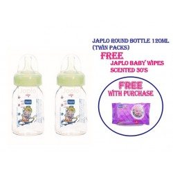 Japlo Round 120Ml Feeding Bottle + FREE Japlo Baby Wipes...