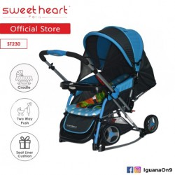 Sweet Heart Paris Aluminium 2IN1 Stroller + Rocker Cradle ST230 (Blue) Bundle with Mosquito Net and Reversible Handlebar\\\'\''