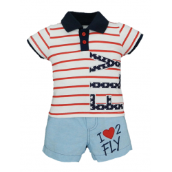 BABY STYLE ASIA BABY BOYS FLIGHT CLUB POLO & SHORTS