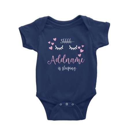Babywears.my Shhh Addname is Sleeping with Hearts T-Shirt Personalizable Designs Newborn Pinky