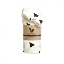 Bunny Babies Muslin Swaddle with Knot Headband (Triangle Print)