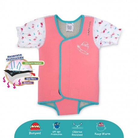 'Cheekaaboo Waterbabes Wrap Thermal Swimsuit - Flamingo (Summer Paradise)'