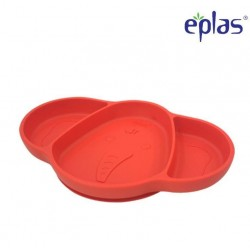 Eplas Baby Suction Plate with 3 Compartment - Silicone Placemat (ESL-P01/Red)