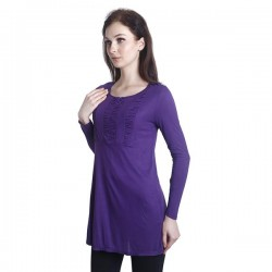 Fabulous Mom Laila Front Zipper Nursing Blouse (Purple)