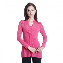 'Fabulous Mom Laura V-Neck Nursing Blouse (Pink)'