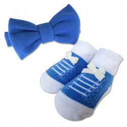 Bumble Bee Baby Bow Tie with Socks Set (Navy) (XLA0025)