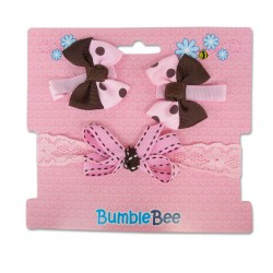 Bumble Bee Headband & Hair Clips Set (Brown) (XLA0037)