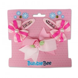 Bumble Bee Hair Clips Set (Pink) (XLA0031)