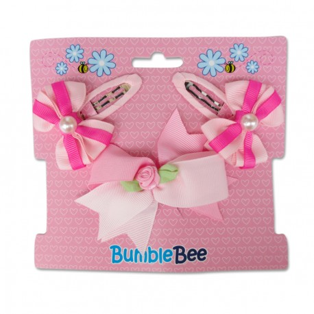 Bumble Bee Hair Clips Set (Pink)