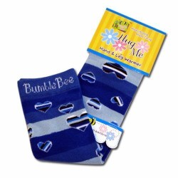 Bumble Bee Hand & Leg Warmers - Blue Hearts (HLM0002)