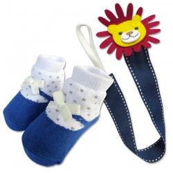 Bumble Bee Baby Pacifier Clip with Socks Set (Lion) (XLA0014)
