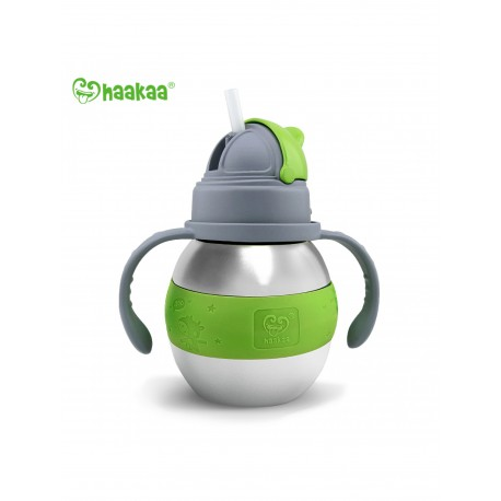 Haakaa 280ml Wide Neck Stainless Thermal Bottle Straw Bottle (Green)