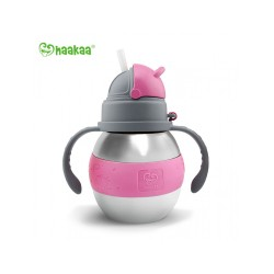 Haakaa 280ml Wide Neck Stainless Thermal Bottle Straw Bottle (Pink)