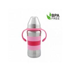 Haakaa 270ml Standard Neck Stainless Steel Thermal Baby Bottle (Pink)