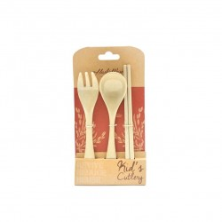 Rice Husk Kid's Cutlery - Fork & Spoon + Chopstick (Jr)