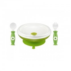 Simba Warmer Plate & Spoon Set - Green
