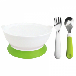 CaliBowl 12oz Non-Spill Toddler Suction Bowl With Lid with Oxo Tot Stainless Steel Fork And Spoon Set(Green)