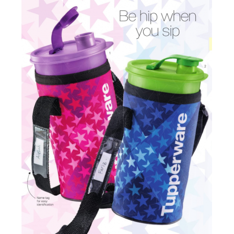 Tupperware Thirstquake Tumbler with Pouch -900ml (Pink Star)