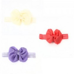Ichiro 3PCS BOW HAIRBAND -LIGHT PURPLE+ORANGE RED+CREAM