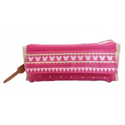 Disney Minnie Mouse Pink Line Pencil Bag With Pocket