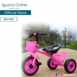 Iguana Online Kids Tricycle with Front and Rear Baskets (Pink) (FULLY ASSEMBLED)