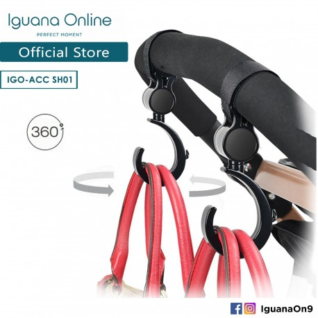 Iguana Online Two Pack Multipurpose Stroller Hang Hooks Accessories Clip with Adjustable Straps