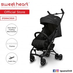 Sweet Heart Paris Cabin Size Stroller Gracieux (Black) with Free Travel Bag Self Standing