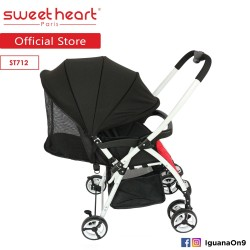 Sweet Heart Paris ST712 Lightweight Stroller (Black Red) with Reversible Handlebar\''