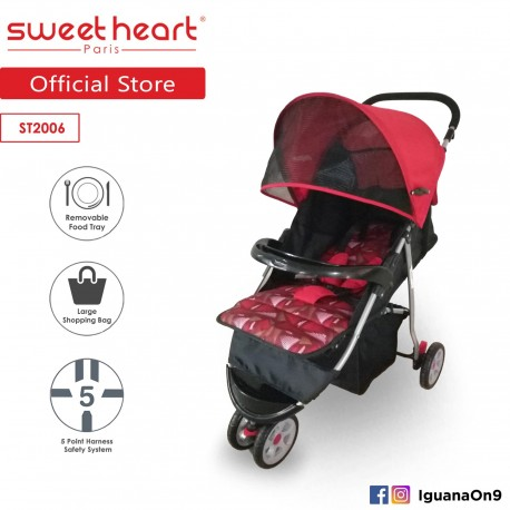 Sweet Heart Paris Stroller ST2006 (Red) with Large Shopping Basket