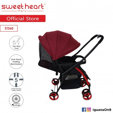 Sweet Heart Paris ST260 Compact Dirt Repellent Stroller (Red) with Reversible One-Handed Folding System\''