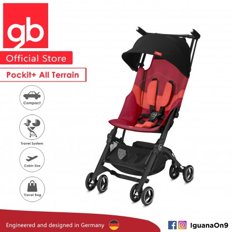 gb Pockit Plus All-Terrain (Rose Red) - World Lightweight Cabin Size Stroller with Reclining Seat [Official Store] 2019