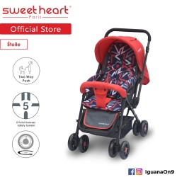 'Sweet Heart Paris ST220 Etoile Stroller with 8pcs Wheels and Reversible Handlebar (Star Red)'