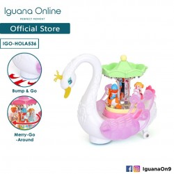Iguana Online Miniature Colourful Musical Swan Merry-Go-Round Carousel with Lights and Rotatable Wings HOLA536
