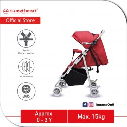 Sweet Heart Paris STMINO Compact Size Stroller with 8 EVA Wheels and 5 Point Harness (Red)