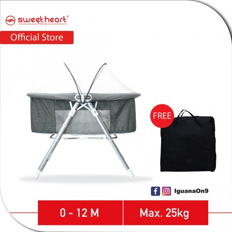 Sweet Heart Paris SCT200 Foldable Baby Bed Cot Rocker with FREE Storage Bag (Grey)