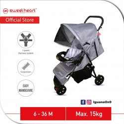 Sweet Heart Paris 3 Wheels Compact Fold Stroller ST310 with Easier Maneuvering and Maximum Mobility (Grey)