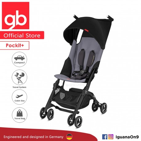 'gb Pockit Plus Stroller (SILVER FOX GREY) - World Lightweight Cabin Size Stroller with Reclining Seat'