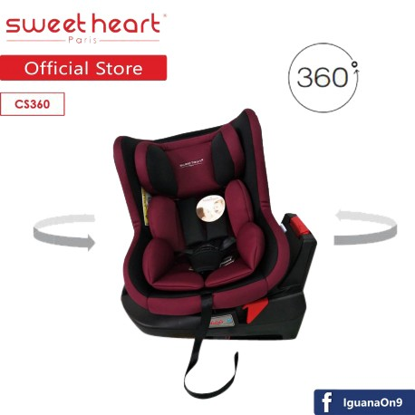 Sweet Heart Paris CS360 Swivel Baby Car Seat Red With 360 Degree Rotation And