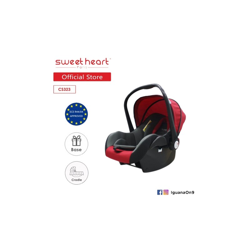 Sweet Heart Paris CS323WB Baby Car Seat Red Black With Base Loading Zoom