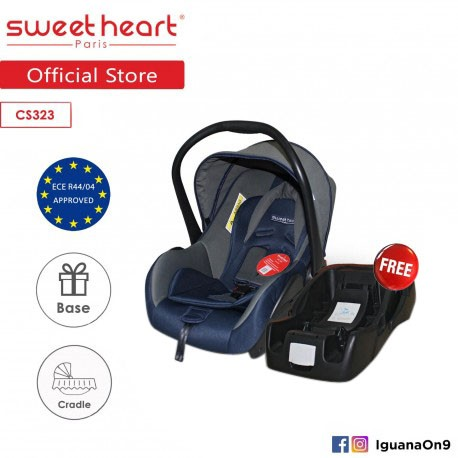 Sweet Heart Paris CS323WB Baby Car Seat (Blue Grey) with Base and Adjustable Canopy\''