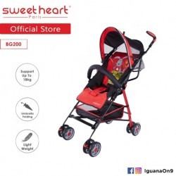 Sweet Heart Paris BG200 Umbrella Stroller Buggy (Red) with Steel Frame and Back-Rest Reclining'