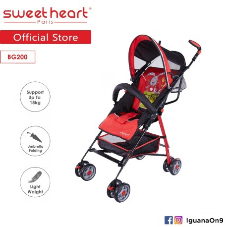 Sweet Heart Paris BG200 Umbrella Stroller Buggy (Red) with Steel Frame and Back-Rest Reclining\''