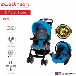 Sweet Heart Paris ST87T Travel System Stroller (Blue) with One-Handed Folding\''